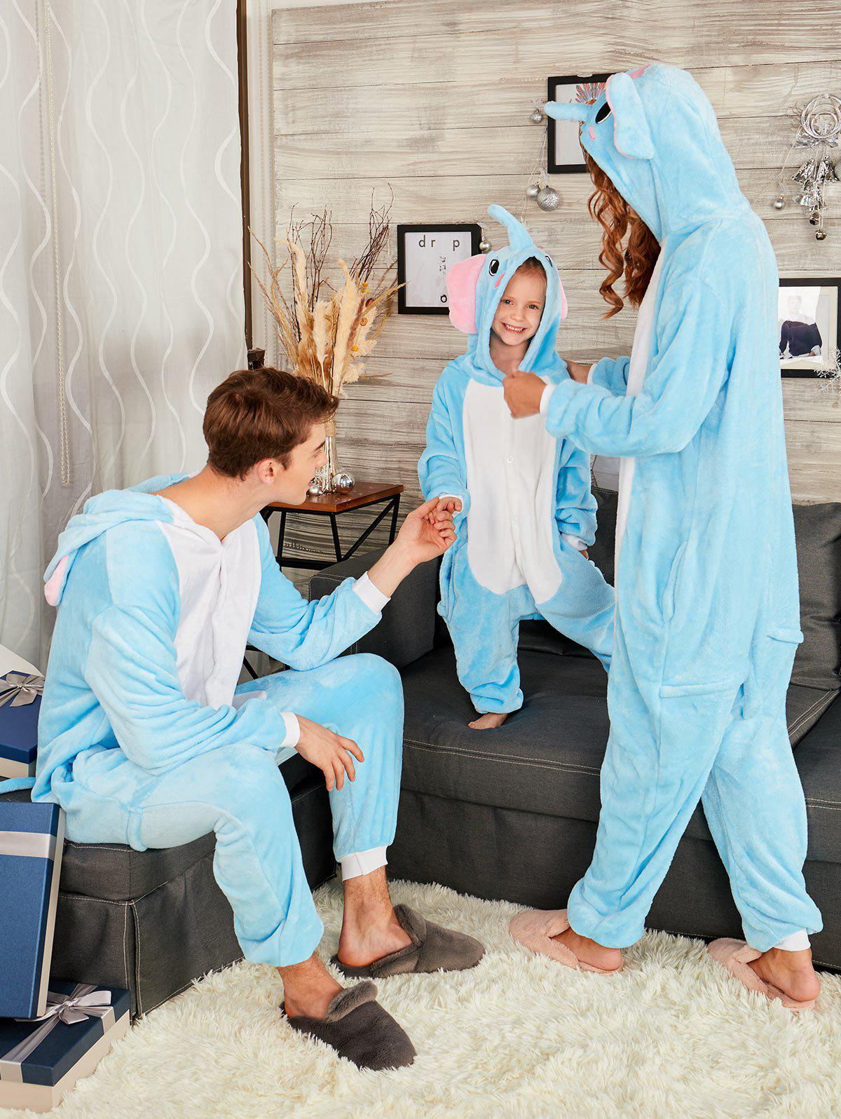 Elephant Animal Family Onesie Matching Christmas PajamaWOMEN<br><br>Size: KID 110; Color: BLUE; Material: Cotton,Polyester; Pattern Type: Animal; Weight: 0.4800kg; Package Contents: 1 x Onesie Pajama;