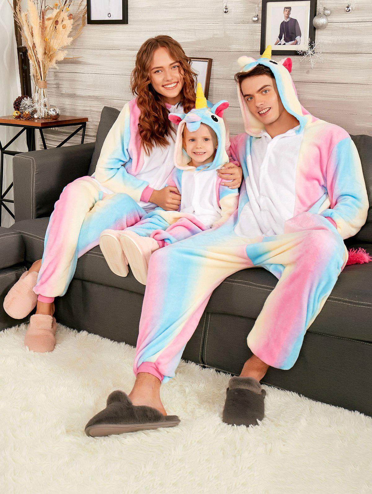 Rainbow Unicorn Animal Christmas Family Onesie PajamasWOMEN<br><br>Size: KID 140; Color: COLORMIX; Material: Polyester; Fabric Type: Fleece; Pattern Type: Animal; Weight: 0.4500kg; Package Contents: 1 x Pajama;