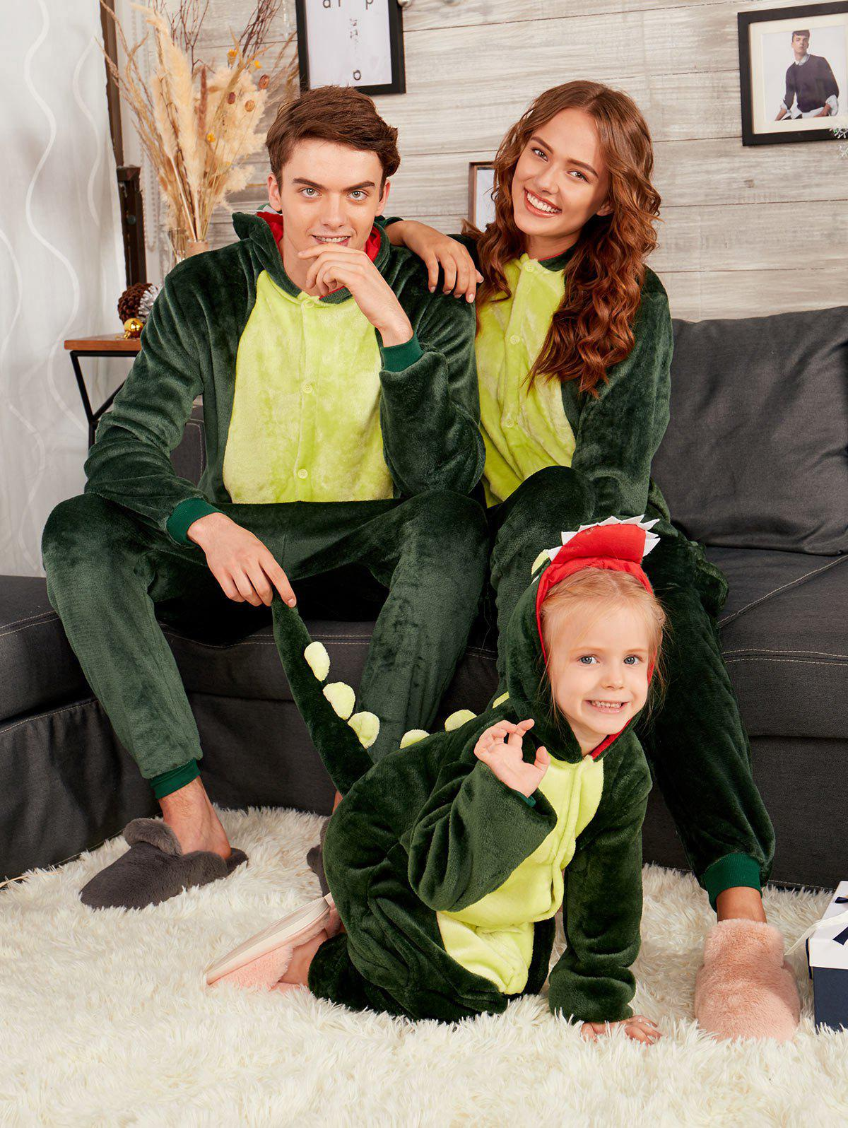 Dinosaur Animal Onesie Matching Family Christmas PjsWOMEN<br><br>Size: KID 140; Color: DEEP GREEN; Material: Cotton,Polyester; Pattern Type: Animal; Weight: 0.4500kg; Package Contents: 1 x Animal Onesie Pajama;