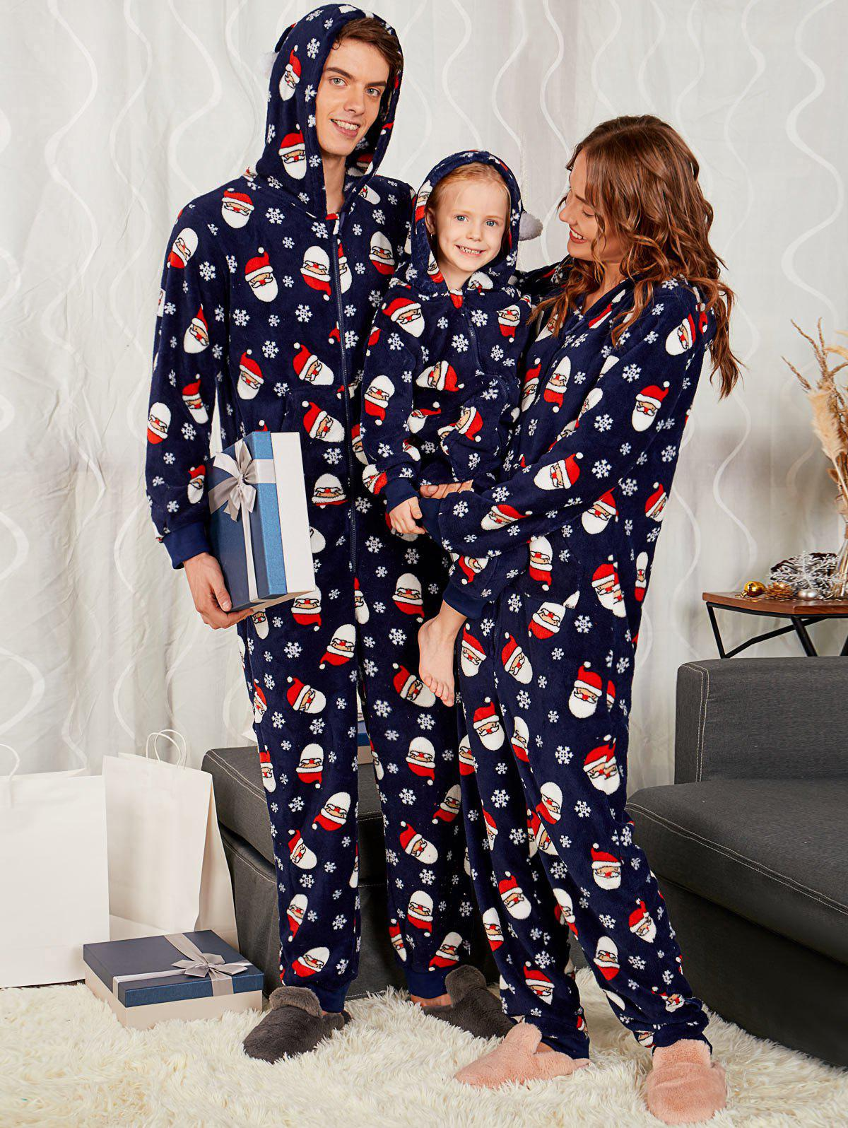 Santa Claus Pattern Matching Family Christmas Pajama SetsWOMEN<br><br>Size: MOM L; Color: PURPLISH BLUE; Material: Polyester,Rayon; Pattern Type: Print; Weight: 0.6700kg; Package Contents: 1 x Family Pajama;