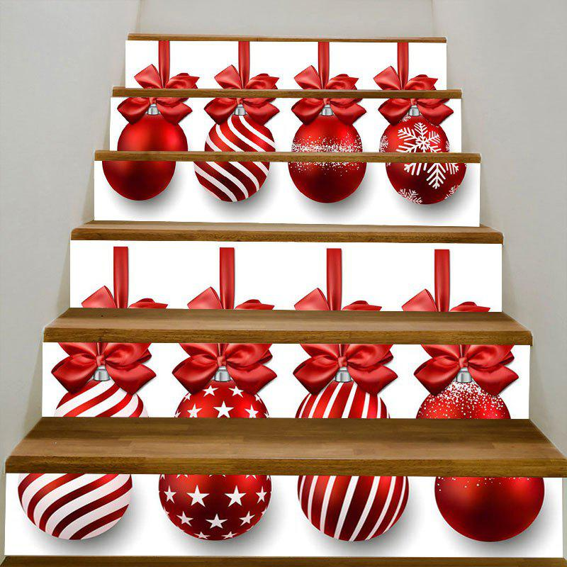 DIY Red Festival Ball Printed Decorative Stair StickersHOME<br><br>Color: RED; Wall Sticker Type: Plane Wall Stickers; Functions: Stair Stickers; Theme: Christmas; Pattern Type: Ball; Material: PVC; Feature: Removable; Weight: 0.3100kg; Package Contents: 1 x Stair Stickers (Set);