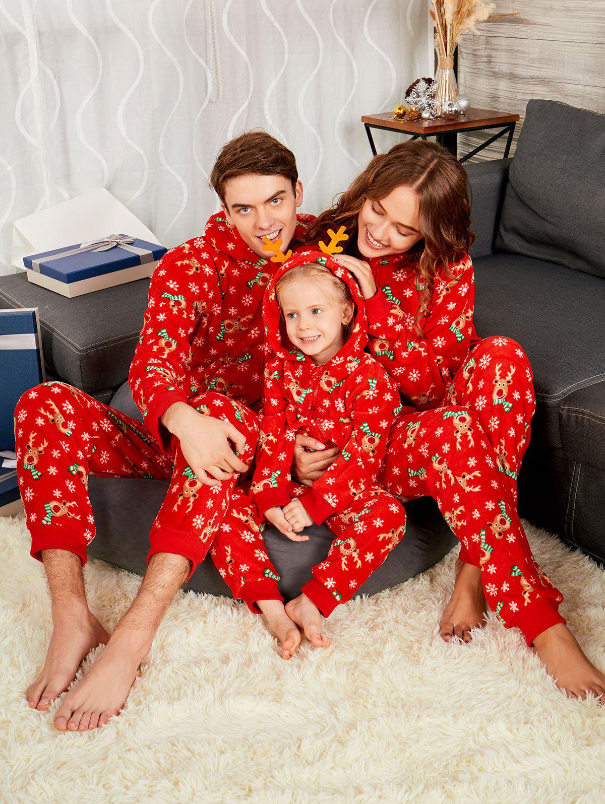 Rudolph Matching Christmas Family PajamaWOMEN<br><br>Size: KID 5T; Color: RED; Material: Polyester; Pattern Type: Animal; Weight: 0.4500kg; Package Contents: 1 x Pajama;