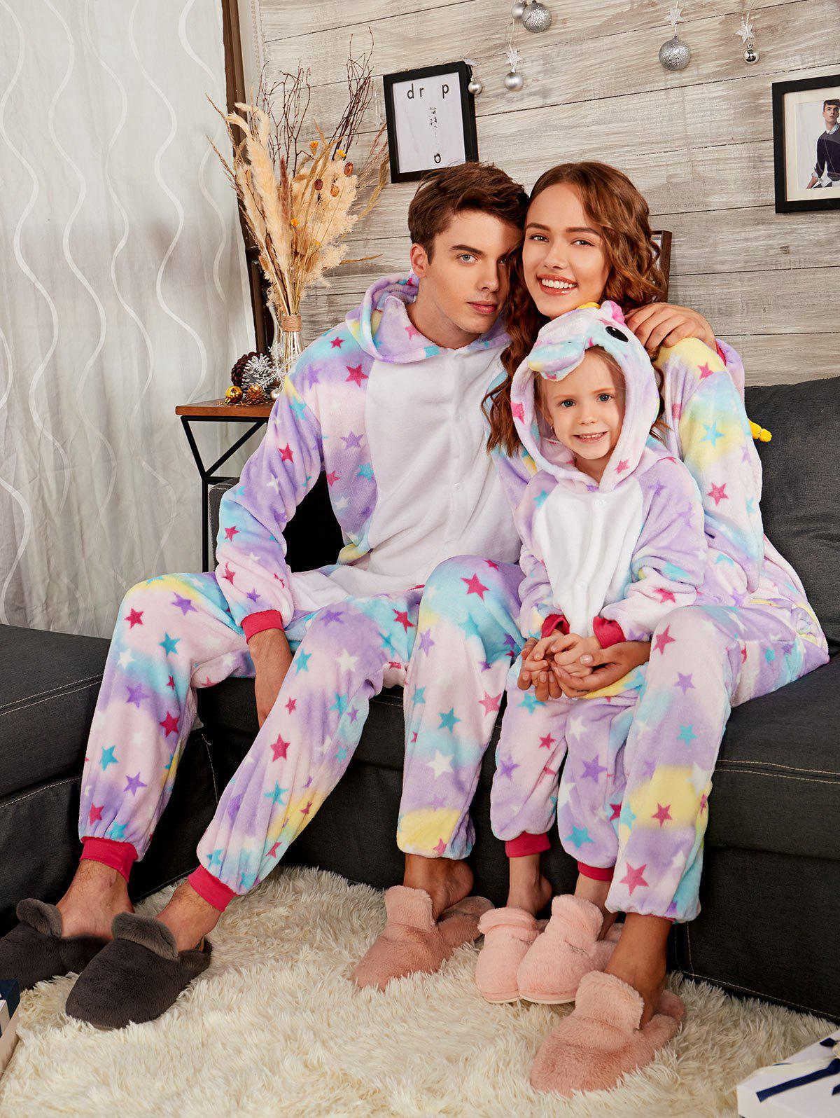 Rainbow Pegasus Animal Christmas Family Onesie Pajama SetWOMEN<br><br>Size: MOM XL; Color: PURPLE; Material: Cotton,Polyester; Pattern Type: Animal; Weight: 0.5000kg; Package Contents: 1 x Pajama;