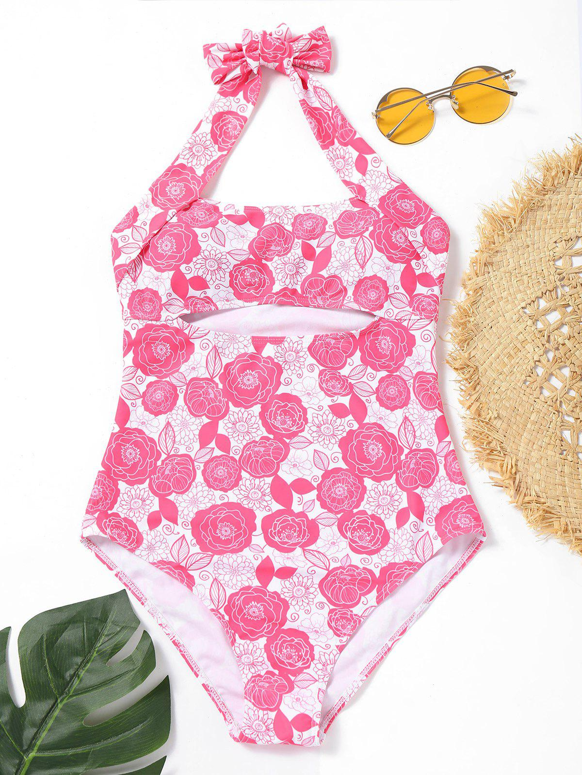 Outfits Halter One Piece Floral Swimsuit