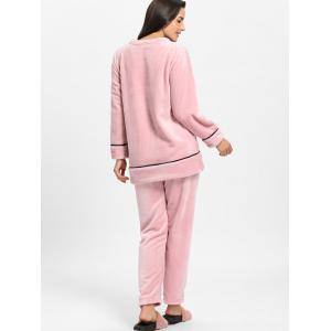 Cute Kitten Graphic Fleece Pajama Set -