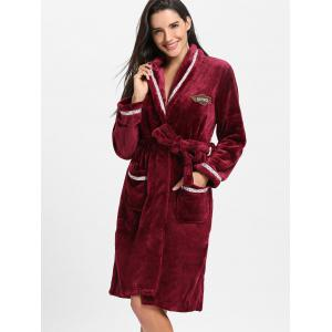 Longueur de genou en molleton Wrap Sleepwear Dress -