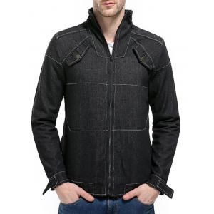 Manteau Zip Up Suture Denim Veste -