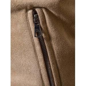 Ribbed Faux Fur Collar Zip Up Suede Jacket -