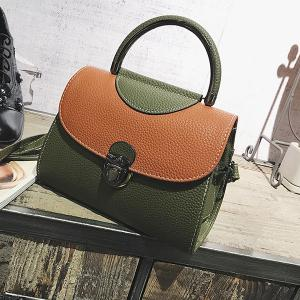PU Leather Color Blocking Handbag With Strap -