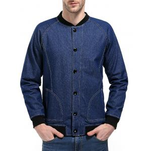 Raglan Sleeve Suture Denim - Veste de baseball -