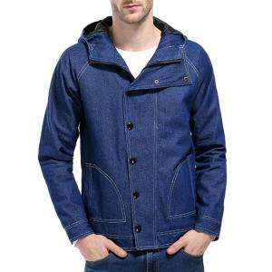 Suture Hooded Buttons Zip Up Jean Jacket -