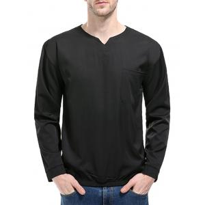 Elastic Waist Pocket Long Sleeve T-shirt -