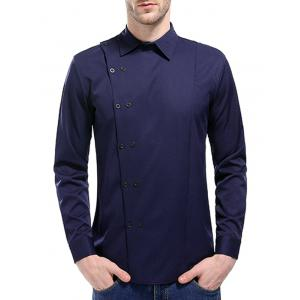 Long Sleeve Oblique Double Breasted Shirt -