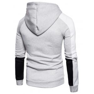 Color Block Graphic Print Fleece Zip Up Hoodie -