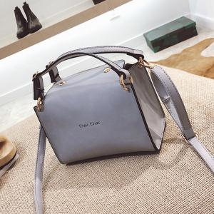 Letter Print PU Leather Handbag With Strap -