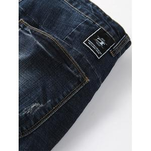 Beam Feet Pocket Design Tapered Denim Joggers -