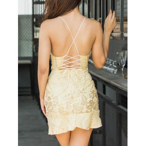 Sequin Embroidered Backless Cami Dress -