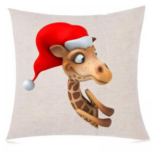 Cartoon Giraffe with Christmas Hat Pattern Sofa Pillow Case -