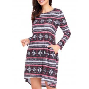 Christmas Long Sleeve Snowflake Print Dress -