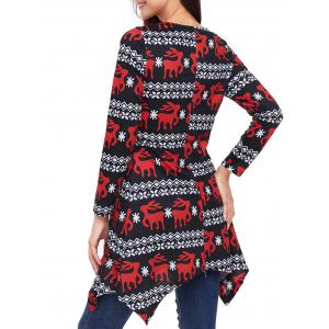 Christmas Long Sleeve Deer Print Asymmetric Dress -