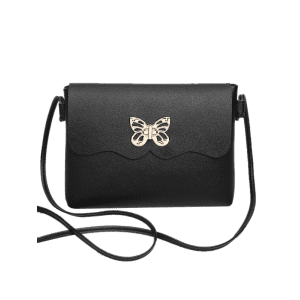 PU Leather Metal Embellished Butterfly Crossbody Bag -