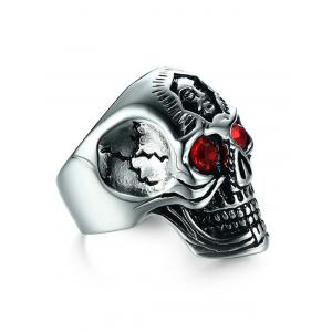 Rhinestone Engraved Skull Stainless Steel Ring -