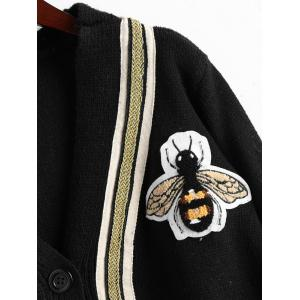 Bee Patched Plus Size Button Up Cardigan -