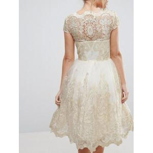 Lace Panel A Line Tulle Party Dress -