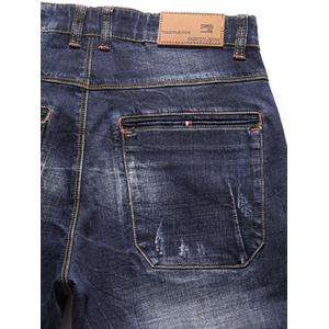 Tapered Fit Whisker Design Zip Fly Jeans -