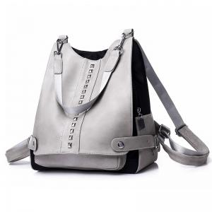 Faux Leather Rivets Multi Function Backpack -