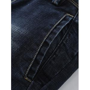 Whisker Design Zip Fly Tapered Fit Jeans -