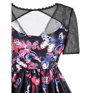 Butterfly Print Mesh Panel Vintage Dress -
