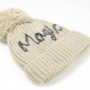 Letter Pattern Embellished Fuzzy Ball Knitted Beanie -