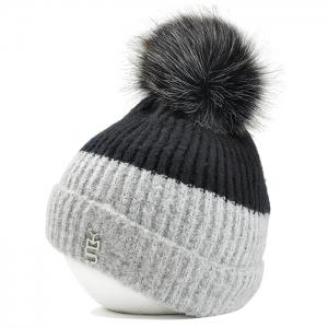 Metal Letter Embellished Flanging Knitted Beanie -