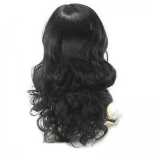 Long Inclined Bang Wavy Human Hair Wig -