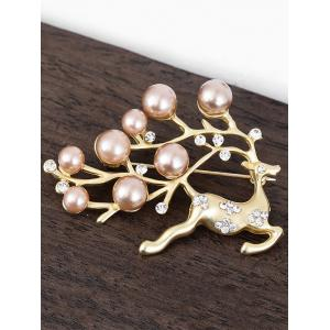 Broche de perle artificielle en strass -