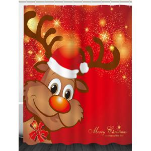 Christmas Elk Pattern Waterproof Shower Curtain -
