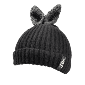 Outdoor Rabbit Ear Embellished Flanging Knitted Beanie -