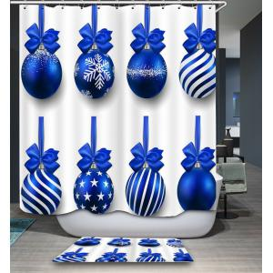 Waterproof Christmas Blue Balls Printed Shower Curtain -