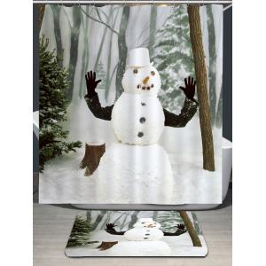 Waterproof Snow Forest Snowman Printed Shower Curtain -