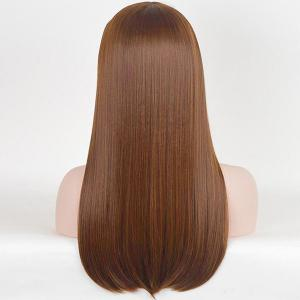 Long Inclined Bang Straight Human Hair Wig -