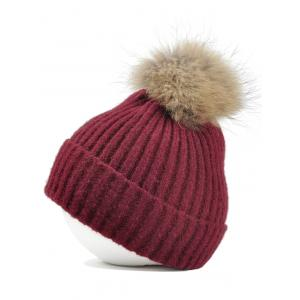 Vintage Fuzzy Ball Embellished Flanging Lightweight Beanie -