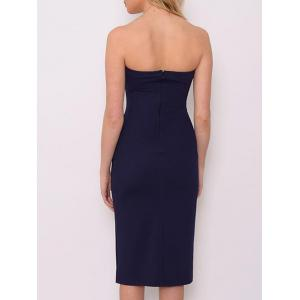 Button Up Bodycon Strapless Dress -