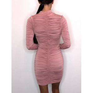Mock Neck Bodycon Ruched Dress -