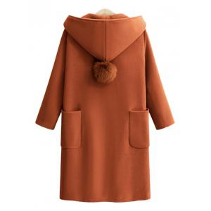 Plus Size Front Pockets One Button Hooded Coat -