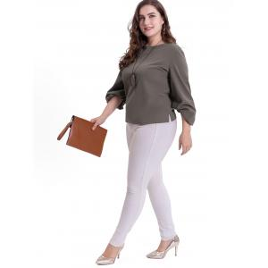 Puff Sleeve Plus Size Casual Blouse -