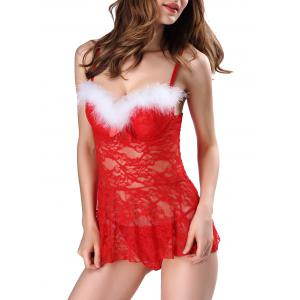 Feather Lace Padded Sheer Santa Lingerie Dress -