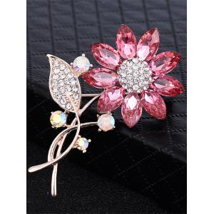 Faux cristal strass feuille tournesol broche -