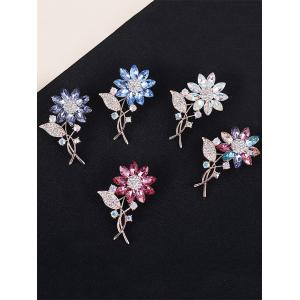 Faux Crystal Rhinestone Leaf Sunflower Brooch -
