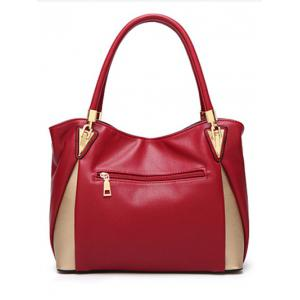 Faux Leather Contrasting Color Shoulder Bag -